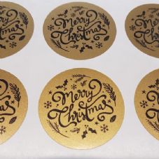 Gold Merry Christmas Stickers